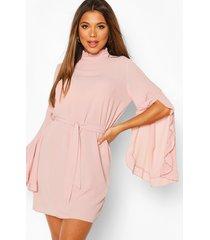 boho high neck wide sleeve shift dress, soft pink