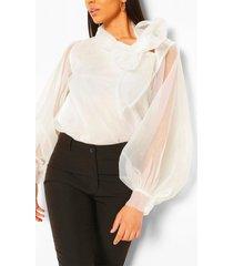 organza blouson sleeve pussybow blouse