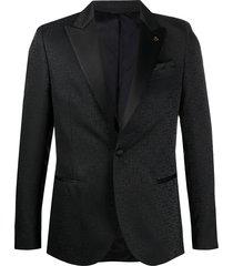 manuel ritz floral pattern evening blazer - black