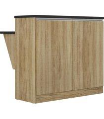 balcão 2 portas com mesa argila acetinado multimóveis bege