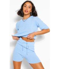 geribbelde top en shorts set, blauw