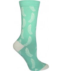calcetin algodón mujer leaves turquesa rockford