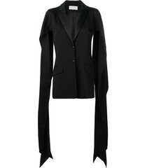 esteban cortazar draped slit sleeve blazer - black