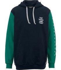 sweatshirt men plus marine::groen::lichtgrijs