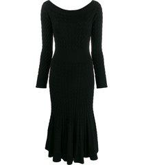 alexander mcqueen cable knit dress - black