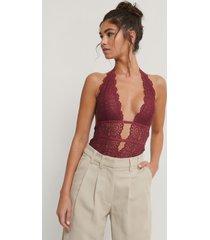 na-kd lingerie plunge lace bodysuit - burgundy