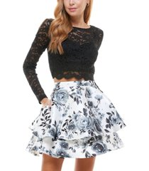 city studios juniors' glitter top & floral skirt