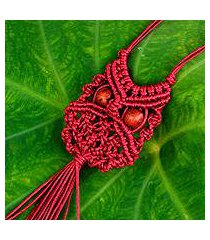 cotton macrame pendant necklace, 'scarlet owl' (thailand)