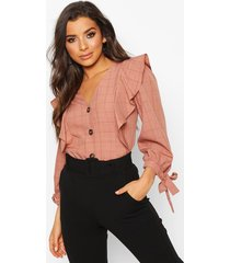 flannel button down ruffle blouse, blush