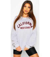 california slogan oversized sweatshirt, grey marl