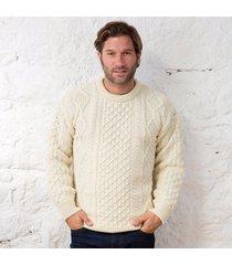 men's springweight new wool crew neck sweater cream xxl