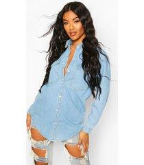 oversize bleach wash denim shirt, blue