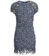 fringed tweed dress