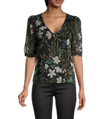 supply & demand women's zola puff-sleeve floral top - black - size s