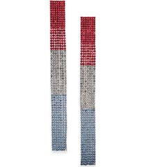thalia sodi silver-tone red, white & blue crystal strip linear drop earrings, created for macy's