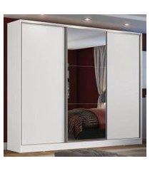 guarda roupa casal 100% mdf madesa zurique 3 portas de correr com espelho - branco branco