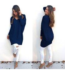 women's autumn winter dress loose knitted oversized baggy sweater dark blue