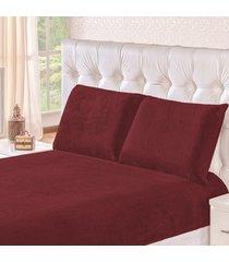 jogo de cama soft vinho casal padrão 03 peças - manta microfibra