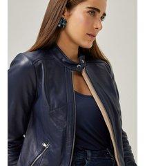 amaro feminino jaqueta couro pelica essential, marinho