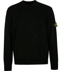 stone island logo patched plain knit sweatshirt