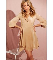 hammered satin blouson sleeve skater dress, champagne
