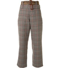 r13 plaid patterned double belted trousers - multicolour