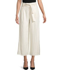paige women's nevada striped paperbag pants - beige - size 0
