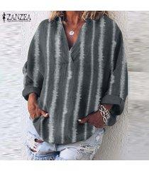 zanzea raya de las mujeres de gran tamaño de largo tapas de la camisa informal étnico tamaño de la vendimia la blusa plus -gris