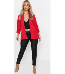 plus lapel detail ruched sleeve blazer, red