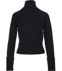 fedeli woman high neck pullover in black cashmere