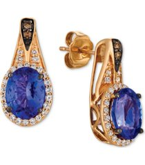 le vian chocolatier blueberry tanzanite (2 ct. t.w.) & diamond (1/3 ct. t.w.) drop earrings in 14k rose gold