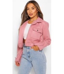 petite cropped popper front jacket, rose