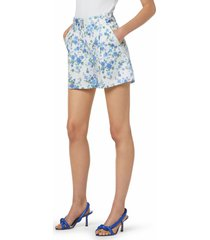 favorite daughter the lemon tree floral stretch cotton shorts, size 4 in blue print at nordstrom