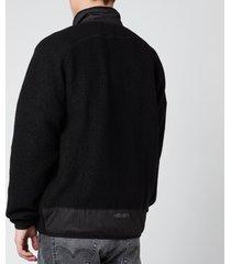 kenzo men's lightweight fleece zip up jacket - black - s