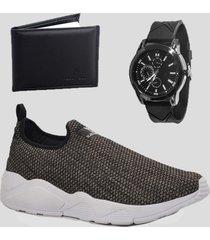 sapatenis masculino casual com relógio e carteira