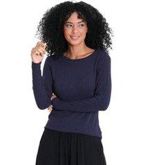 blusa gola redonda canelada feminina - feminino