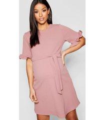 maternity ruffle tie waist smock dress, rose