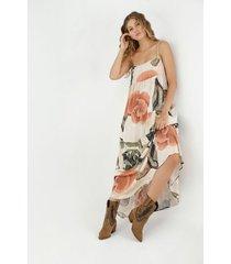 vestido de mujer, diseño maxi de tiras con estampado floral