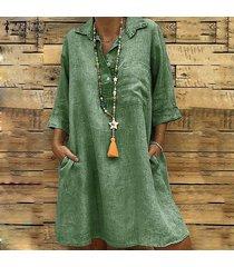 3/4 zanzea verano verano de las mujeres da vuelta-abajo mini vestido vestidos flojos ocasionales -verde