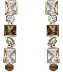 orecchini pendenti con pietre sui toni dell'oro in metallo dorato per donna