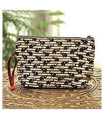 batik cotton cosmetic bag, 'tan elephants' (india)