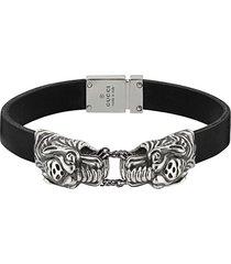 gucci tiger head bracelet - black