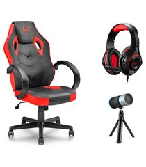 combo gamer - cadeira tongea, headset rama p3+usb stereo adaptador p2 led vermelho e microfone eloy streaming noise cancelling usb - ga162k ga162k