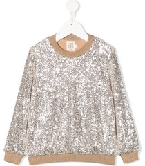 caffe' d'orzo sequin embroidered sweatshirt - silver