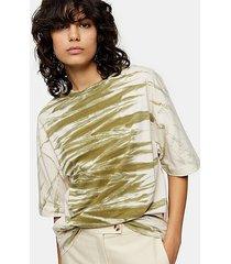 *khaki tie dye t-shirt by topshop boutique - khaki