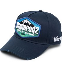 dsquared2 embroidered-design six-panel cap - blue
