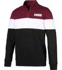 fleece sweater met halve rits voor heren, wit/zwart/rood, maat s   puma