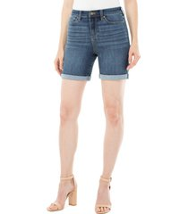 women's liverpool kristy high waist rolled shorts, size 4 - blue