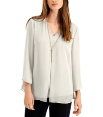 jm collection solid v-neck necklace top, created for macy's