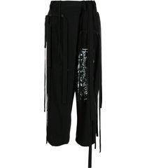 yohji yamamoto tassel-trim cropped trousers - black